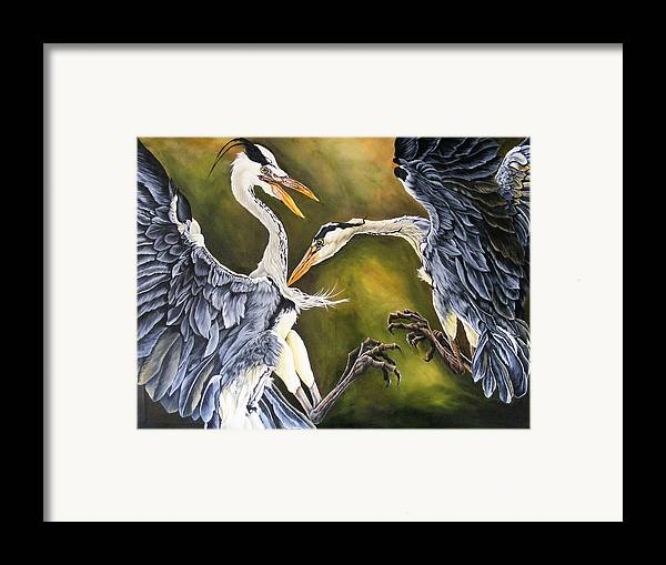 Herons Framed Print featuring the painting Dance Of Life by Donald Dean