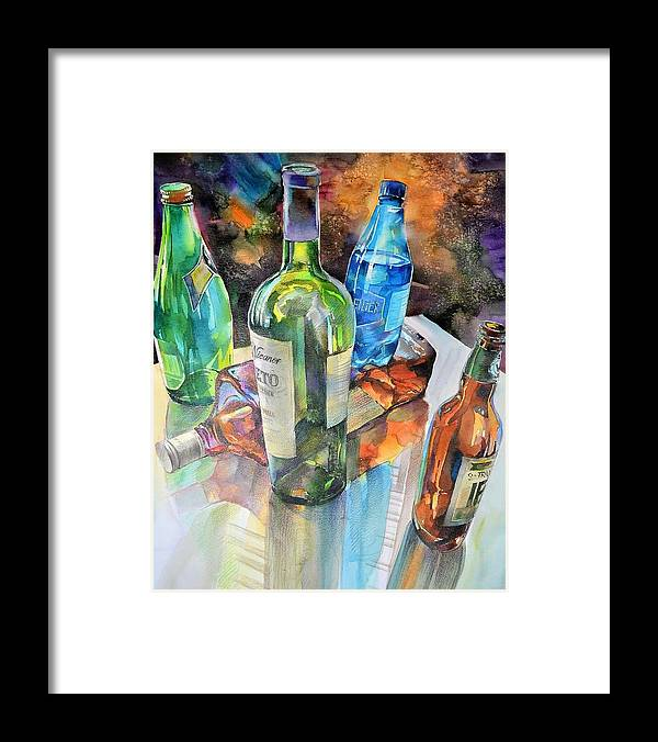 Watercolour Framed Print featuring the painting Dance Of Light And Glass by Annika Zalmover