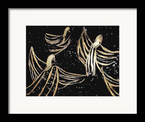 Angels Framed Print featuring the painting Dance Of The Angels by Michela Akers