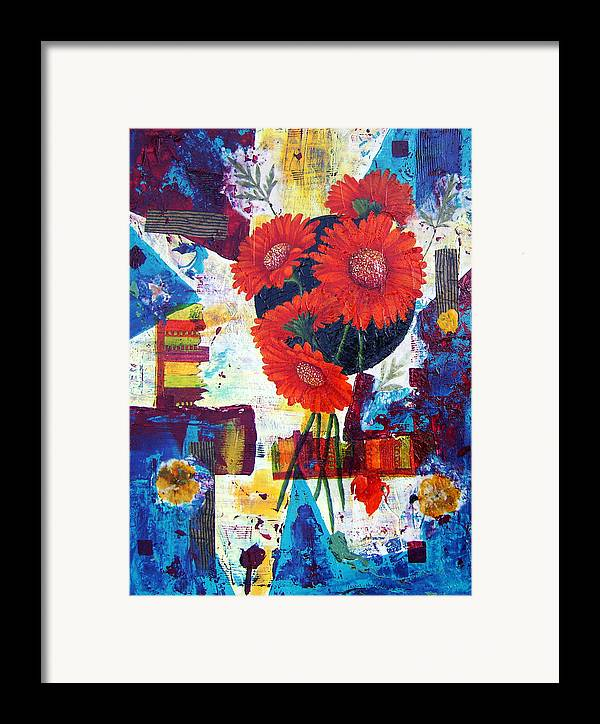 Daisy Flower Red Abstract Modern Collage Mixed Media Acrylic  Framed Print featuring the painting Dance Of The Daisies by Terry Honstead