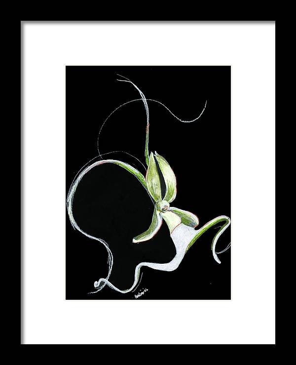 Floral Flower Dance Orchid Framed Print featuring the print Dance Of The Ghost Orchid by Carliss Mora