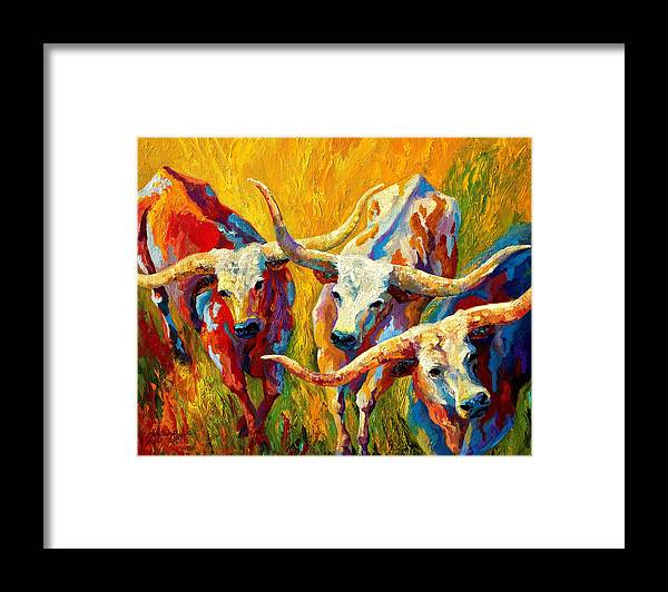 Western Framed Print featuring the painting Dance Of The Longhorns by Marion Rose