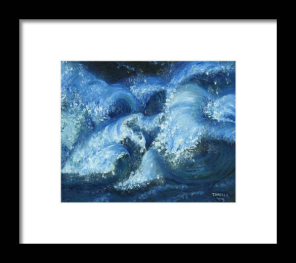 Strong Waves Painted In Blues And Tinges Of Green With Vibrant Color Framed Print featuring the painting Dance of the Stormy Sea by Tanna Lee M Wells