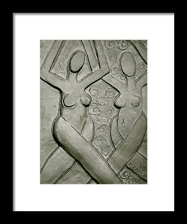 Female Framed Print featuring the relief Dance With Mattise by Dan Earle