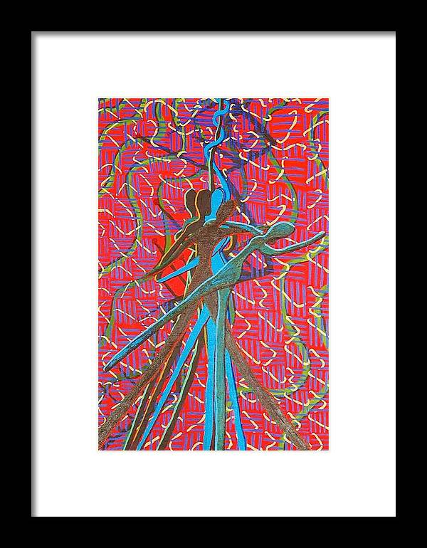 Figure Framed Print featuring the painting Dance With Me by Rika Maja Duevel