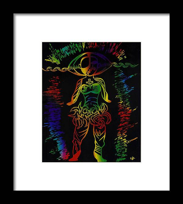 Woman Framed Print featuring the drawing Dance Zulu Dance by Edwin Antoinette