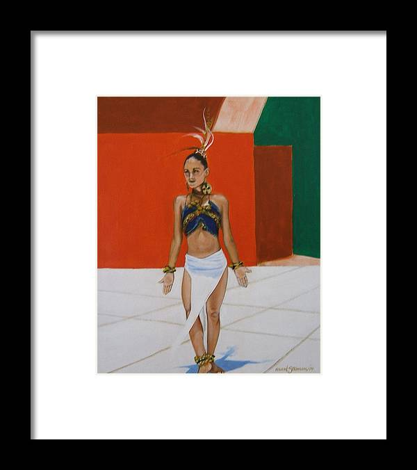 Dancer In Costume Framed Print featuring the painting Dancer In Costume by Howard Stroman