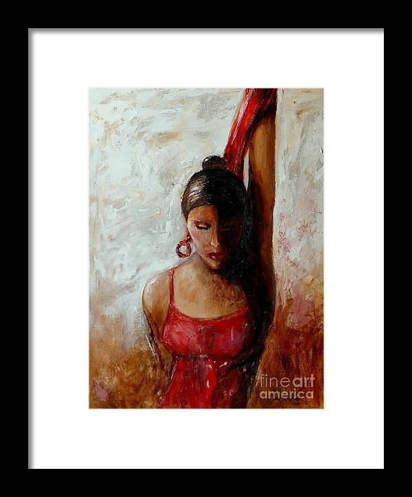 Dancer Framed Print featuring the painting Dancer In Red by Jun Jamosmos