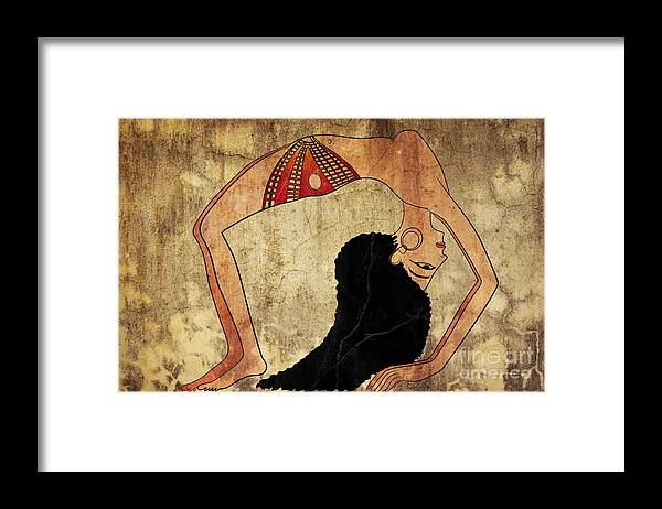 Dancer Framed Print featuring the mixed media dancer of Ancient Egypt by Michal Boubin