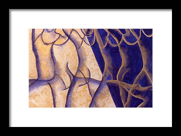 Watercolor Framed Print featuring the painting Dancers - Study 12 by Caron Sloan Zuger