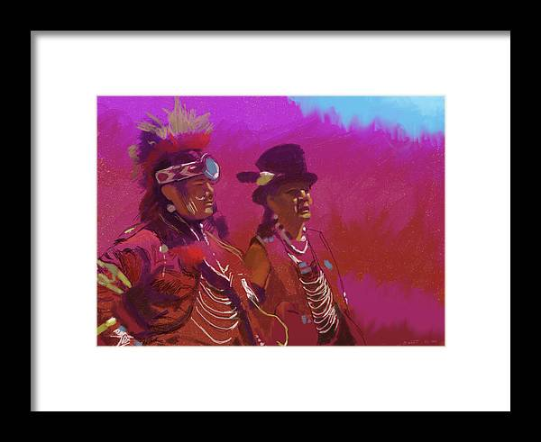 Indian Framed Print featuring the digital art Dancers In Red by Robert Bissett