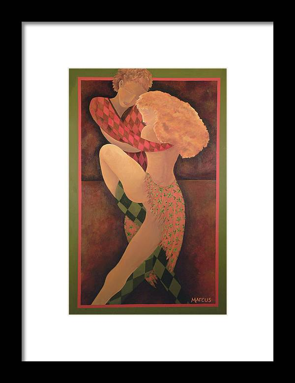 Dancers Framed Print featuring the painting Dancers by Leslie Marcus