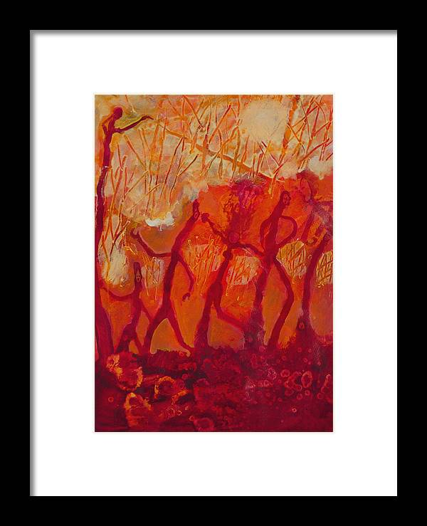 Red Framed Print featuring the painting Dancers by Robert Bissett