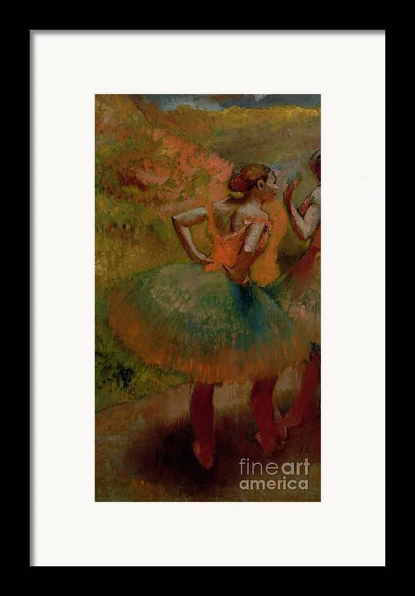 Dancers Wearing Green Skirts Framed Print featuring the pastel Dancers Wearing Green Skirts by Edgar Degas