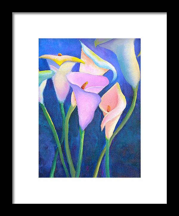 Flowers Framed Print featuring the painting Dancing Callas by Dorothy Nalls