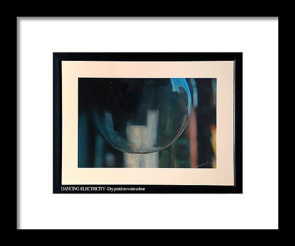 Abstract Framed Print featuring the painting Dancing Electricity 1 by Ankita Joshi