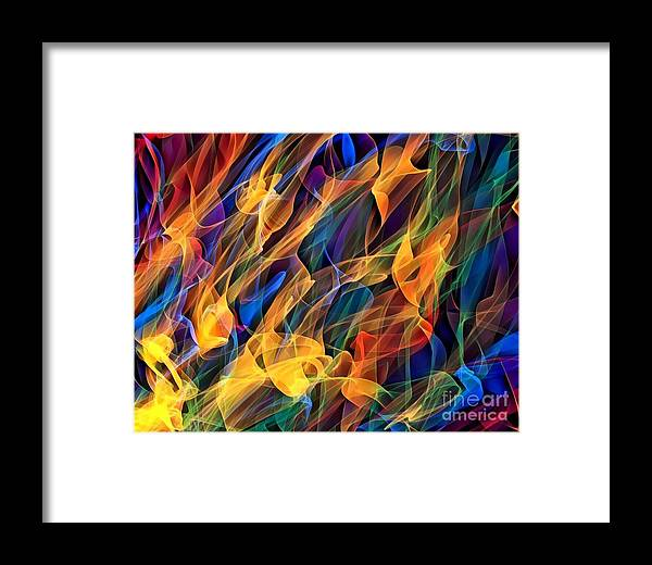 Abstract Framed Print featuring the digital art Dancing Flames by Tarisa Smith