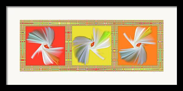 Abstract Framed Print featuring the digital art Dancing Flower Trio by Ben and Raisa Gertsberg