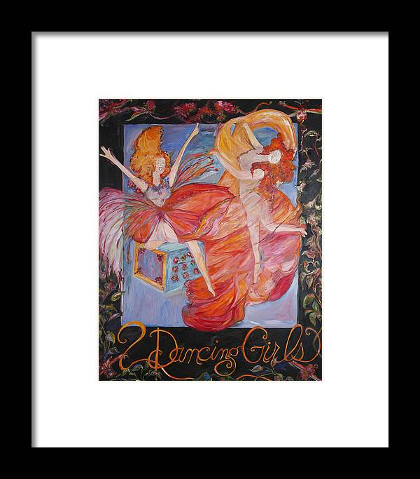 Expressionism Framed Print featuring the painting Dancing Girls by Cynthia Anheier