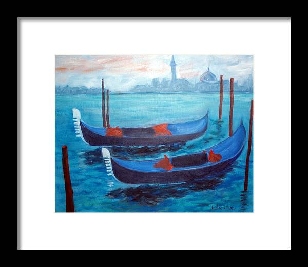 Venice Framed Print featuring the painting Dancing Gondolas by Lia Marsman