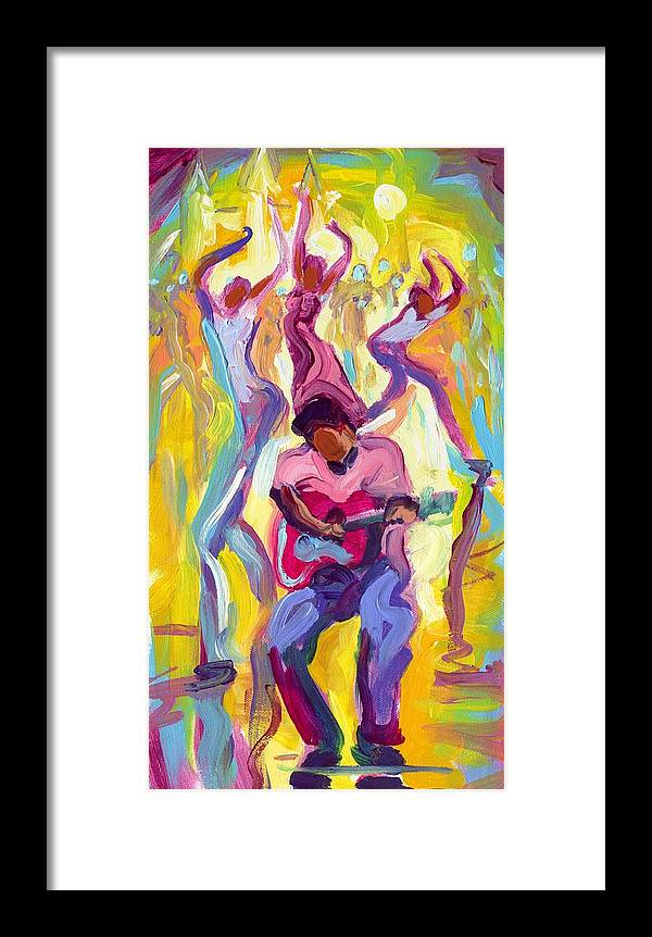 Dancing Framed Print featuring the painting Dancing In The Streets by Saundra Bolen Samuel