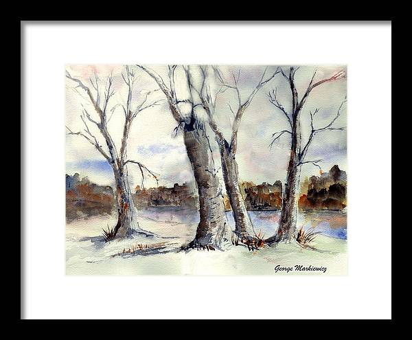 Landscape Framed Print featuring the print Dancing in Winter by George Markiewicz