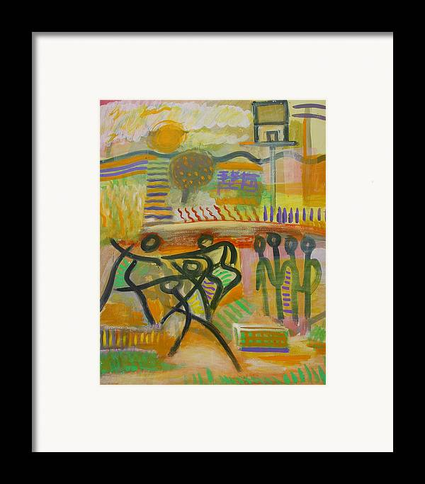 Abstract Framed Print featuring the painting Dancing by Michael Keogh