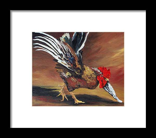 Chicken Framed Print featuring the painting Dancing Rooster by Torrie Smiley