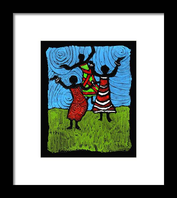 Black Art Framed Print featuring the painting Dancing So Good I Started To Fly by Wayne Potrafka