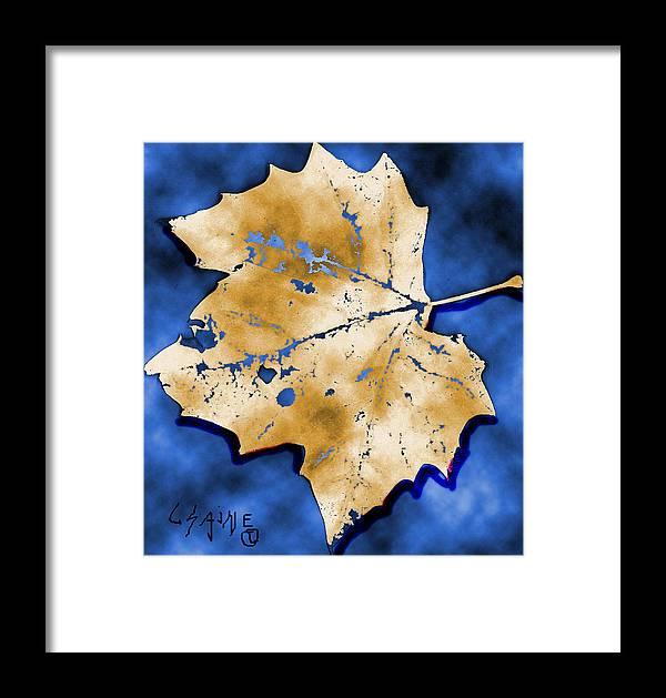 Digital Framed Print featuring the digital art Dancing Tan Leaf by Carolyn Saine