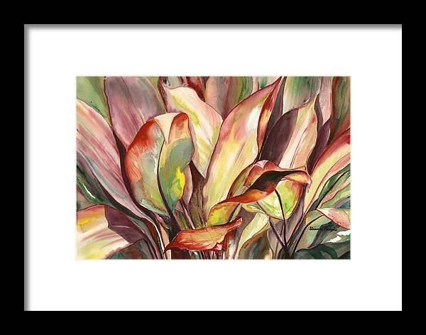 Tropical Foliage Framed Print featuring the painting Dancing Ti Leaves by Ileana Carreno