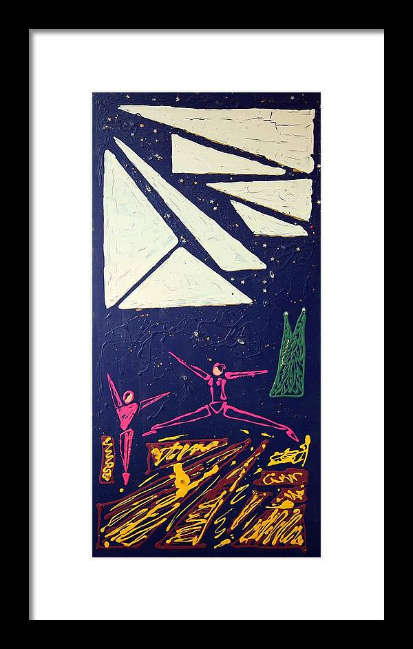 Abstract Art Framed Print featuring the mixed media Dancing Under The Starry Skies by J R Seymour