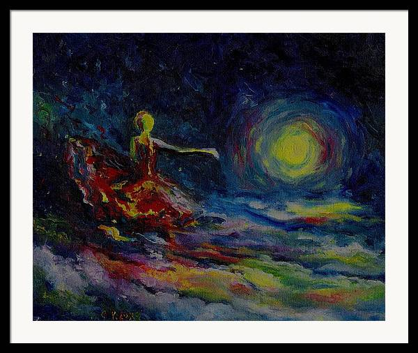 Skyscape Framed Print featuring the painting Dancing With The Moon by Stephanie Cox