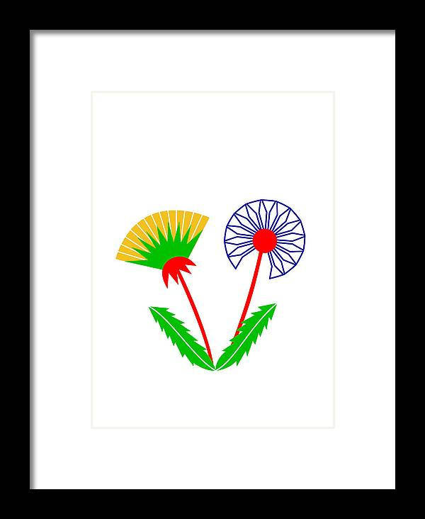 Dandelion Framed Print featuring the digital art Dandelion by Asbjorn Lonvig
