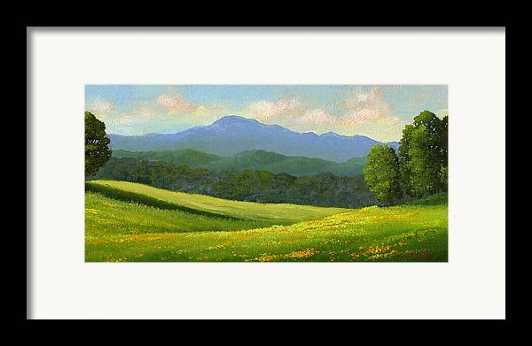 Landscape Framed Print featuring the painting Dandelion Meadows by Frank Wilson