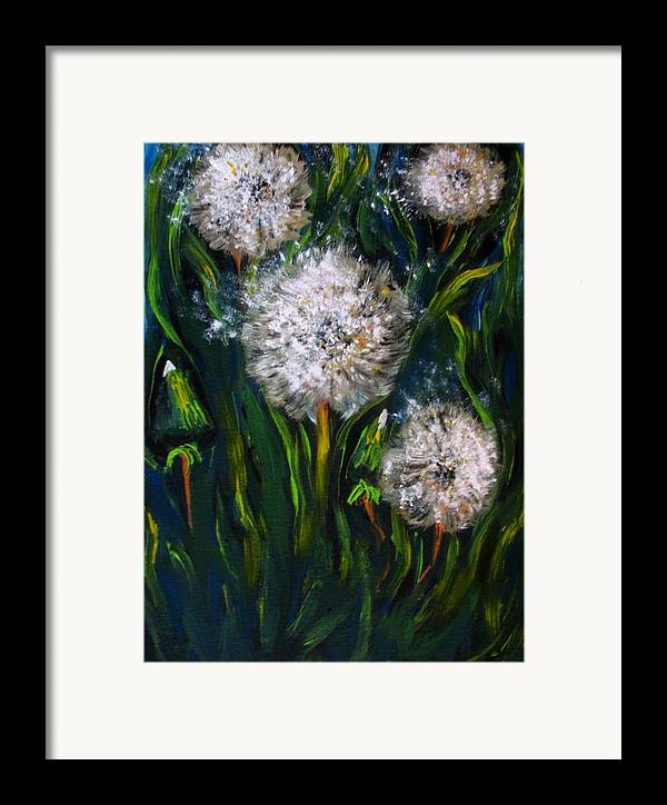 Flower Art Framed Print featuring the painting Dandelions Acrylic Painting by Natalja Picugina