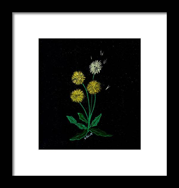 Flowers Framed Print featuring the pastel Dandy Lions by Diane Frick