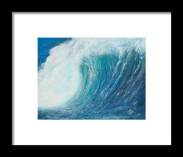 Seascape Framed Print featuring the painting Danger No Surfing by Tony Rodriguez