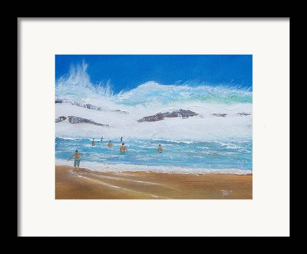 Seascape Framed Print featuring the painting Danger No Swimming by Tony Rodriguez