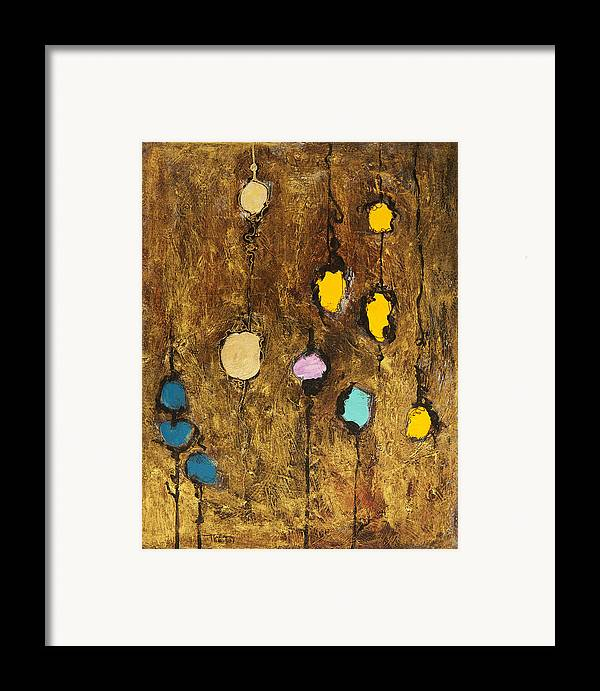 Abstract Framed Print featuring the painting Dangling Blossoms by Tara Thelen