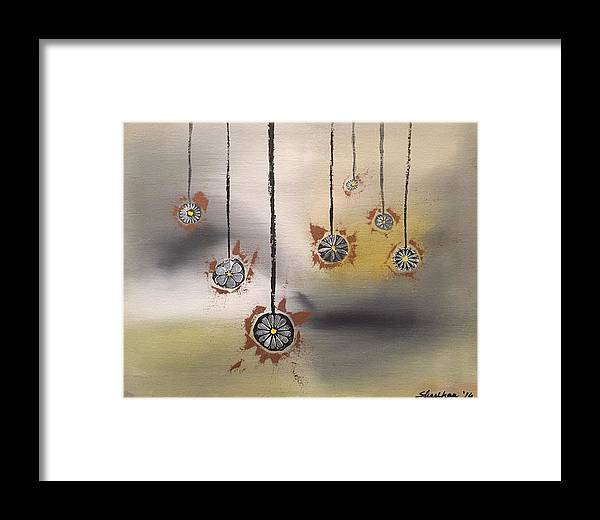 Abstract Framed Print featuring the painting Dangling Participles by Richy Sharshan