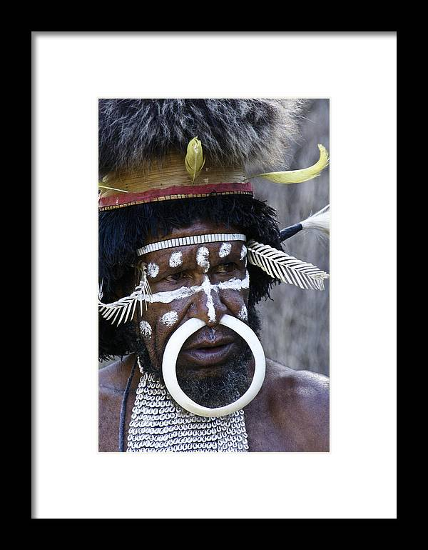 Southeast Asia Framed Print featuring the photograph Dani Tribesman by Michele Burgess