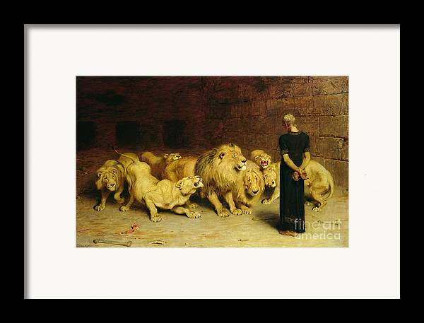 Daniel In The Lions' Den Framed Print featuring the painting Daniel In The Lions Den by Briton Riviere