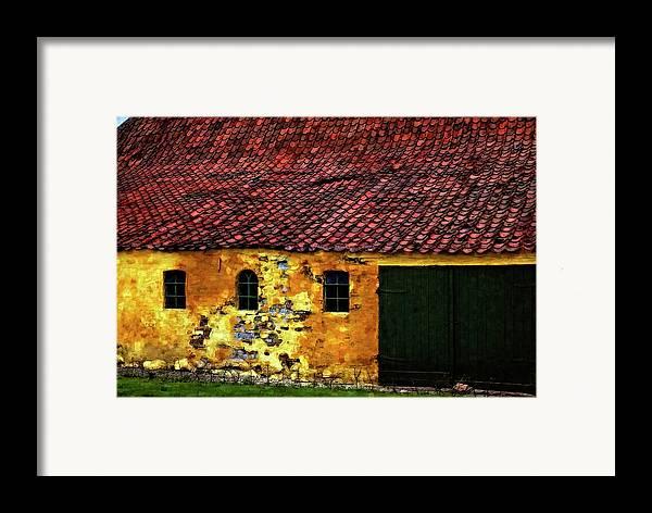 Barn Framed Print featuring the photograph Danish Barn Watercolor Version by Steve Harrington