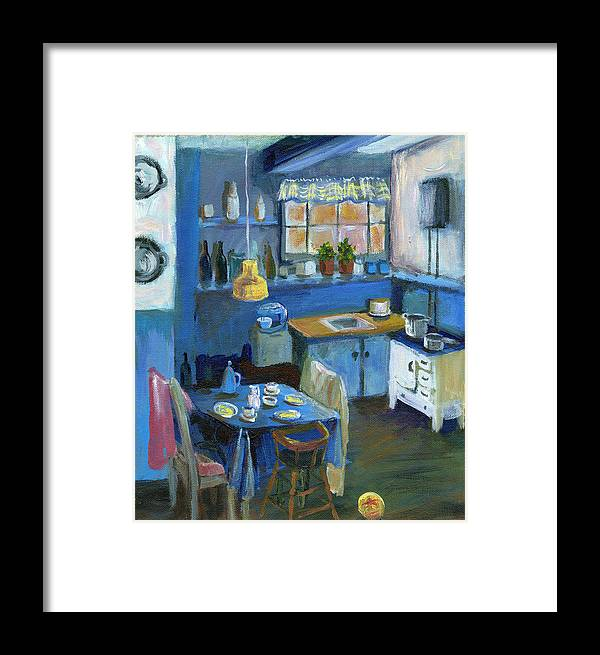 Denmark Framed Print featuring the painting Danish Kitchen by Art Nomad Sandra Hansen