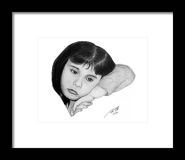 Portrait Sketch Framed Print featuring the drawing Dannie by Peter Piatt