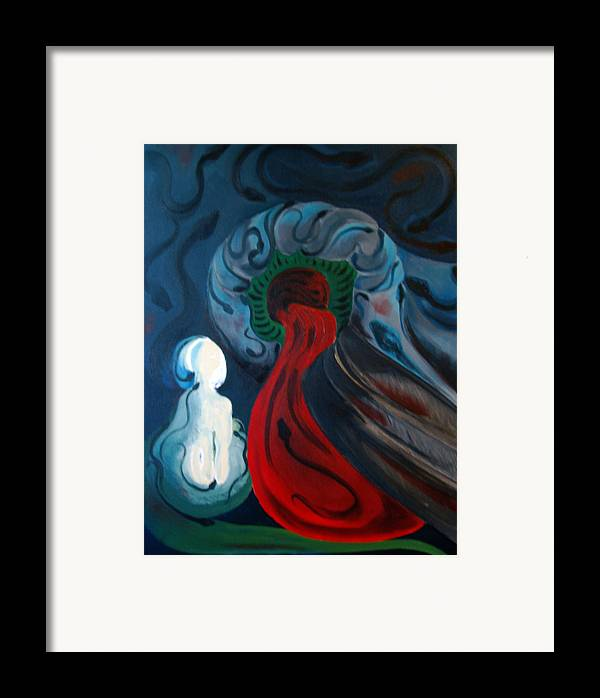 Abstract Framed Print featuring the painting Dante by DeLa Hayes Coward