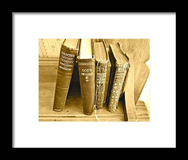Photograph Of Old Books Framed Print featuring the photograph Dante God And Shakespeare ... by Gwyn Newcombe