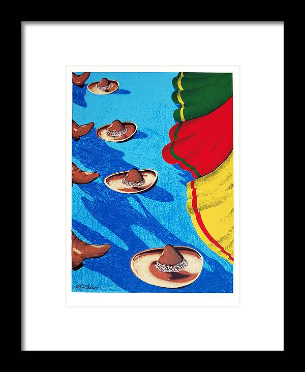Serie Framed Print featuring the print Danzantes by Henry J Medrano