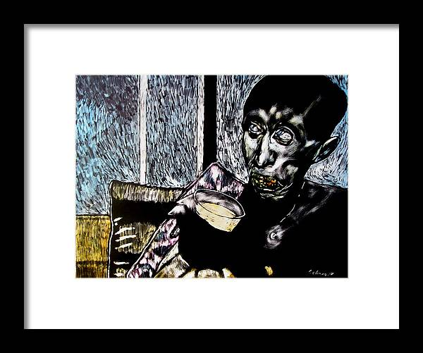 Social Commentary Framed Print featuring the mixed media Darfu In Our Living Room by Chester Elmore